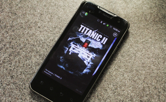 Phone displaying Titanic 2 (photo by Alexis Cichy).