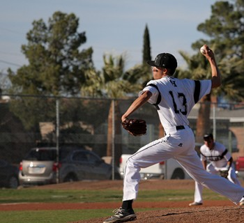 Jacob Candia pitches during the game.