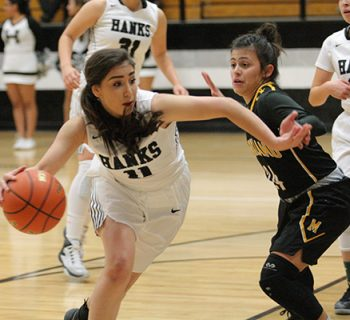 Junior Aylin Ramirez dribbles past the Parkland defender. The team lost a close one, 51-48 (photo by Daniella Salcido).